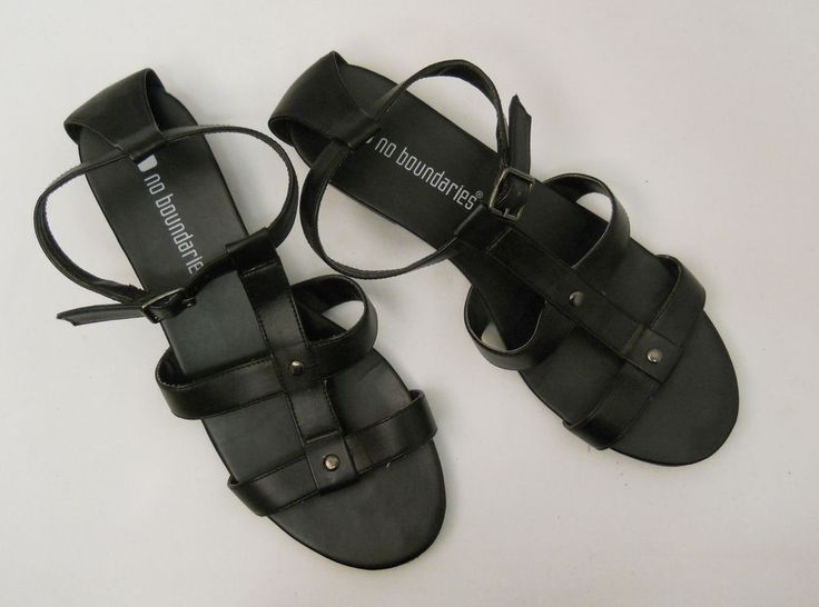 SIZE 10 Womens T-Strap Sandals NO BOUNDARIES Solid Black Ankle Straps Buckle   #NoBoundaries #TStrap #Casual