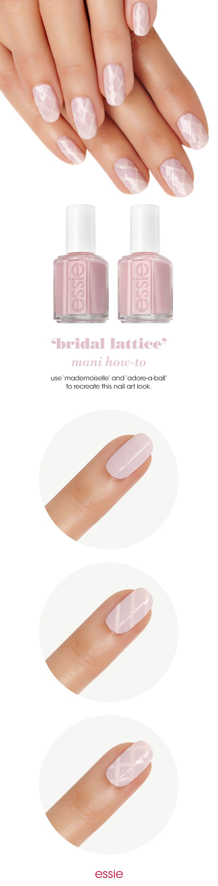 Nails are the perfect accessory for every bride. Add an elegant twist to your wedding day mani with a simple criss cross nail art design featuring two iconic essie sheers. How to get the look in just three easy steps: First apply 1 coat of 'mademoiselle' and let dry. With 'adore-a-ball', draw one line diagonally from left to right. Do this again in the opposite direction to achieve a lattice pattern. Finally shine and seal with an essie top coat.