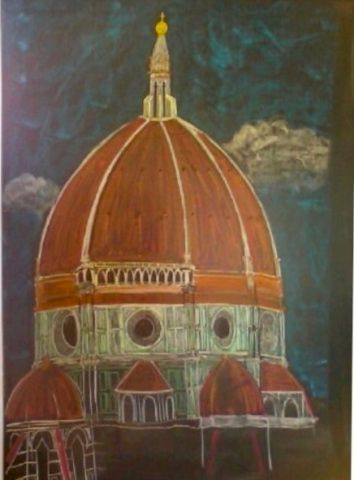 Waldorf ~ 7th grade ~ Perspective Drawing ~ Renaissance Brunelleschis Dome ~ chalkboard drawing