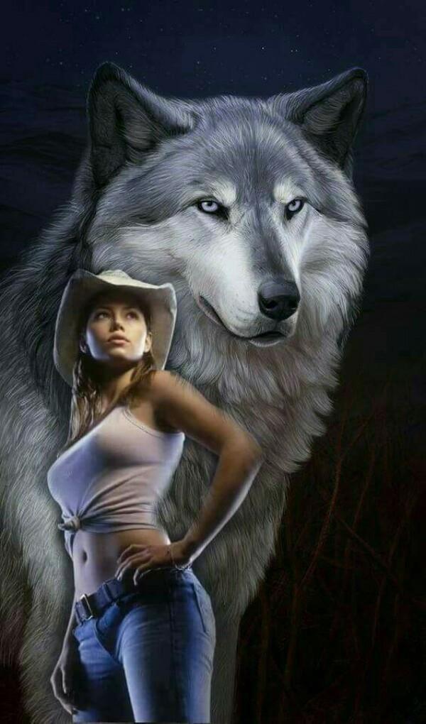 Открытка волк с девушкой, карандашом животных