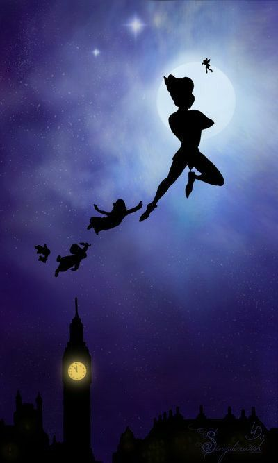Disney's Peter Pan, Tinkerbell, Wendy, Michael and John flying in the stars
