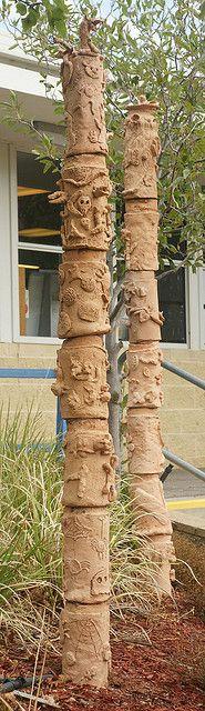 clay totems in garden by bev.plowman, via Flickr