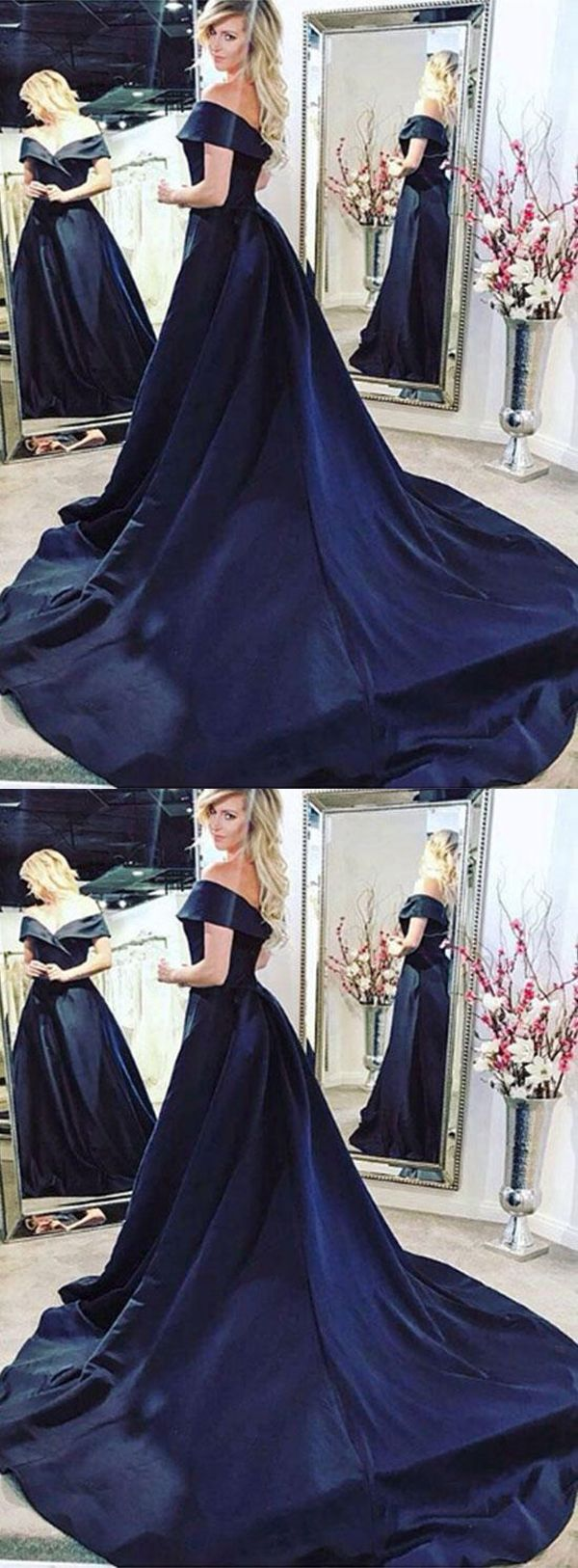 A-Line Off-The-Shoulder Navy Blue Sweep Train Prom/Evening Dress