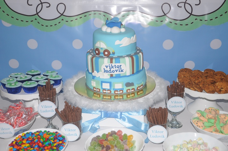 The centerpiece at our candy buffet was our son's baptismal celebration cake.