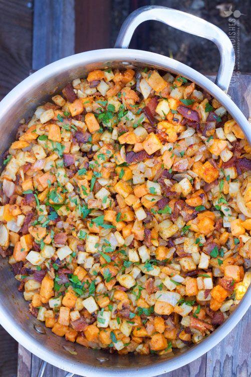 Yam, celery, bacon, onion, garlic, paprika,