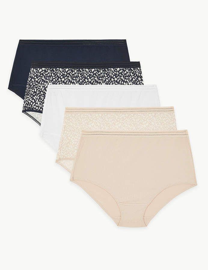 M /& S Ladies 5 Pack Cotton Lycra Embroidered Full Briefs Knickers Underwear