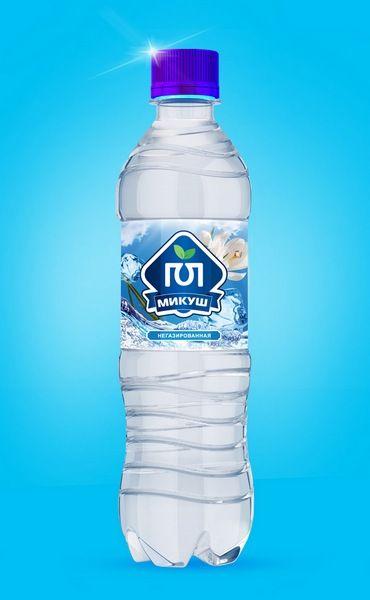 Дизайн этикетки для воды Микуш