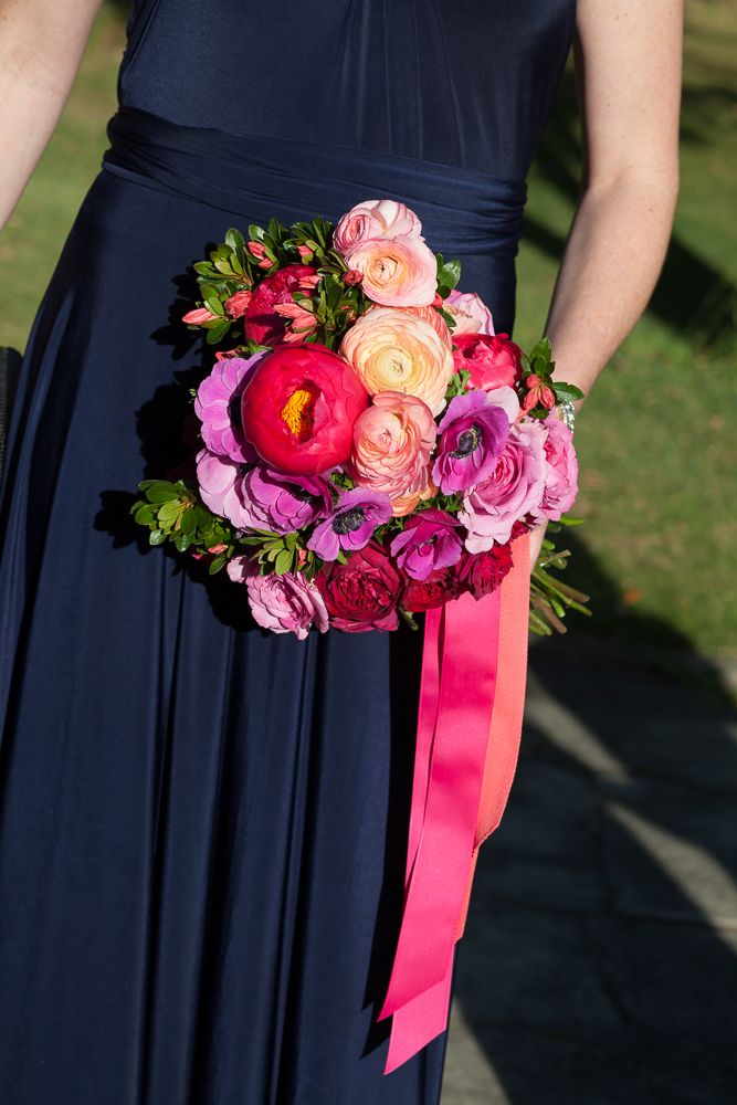 Get the look: the Interiors Addict guide to wedding stylingWedding flowers, peonies, bright, hot pink, coral, roses, Aleksandra, Aleksandra Schultz, bridesmaid, navy, convertible dress, infinity dress