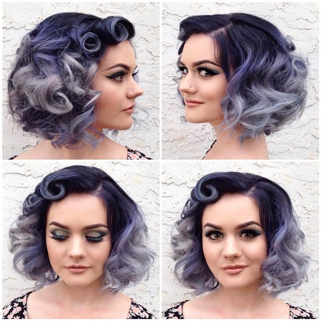 short curly purple ombre hair More at http://www.hairchalk.co #haircolor #hairdye #hairchalk                                                                                                                                                      More
