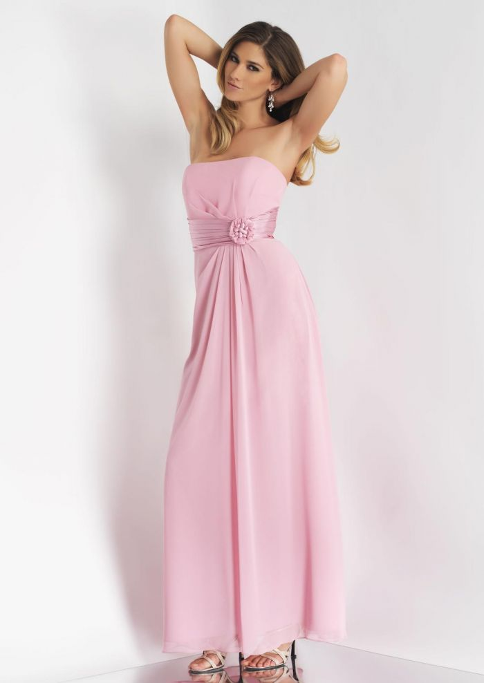 2015 Strapless Chiffon Sleeveless Pink Flower Floor Length Bridesmaid / Prom Dresses By Alexia 4088
