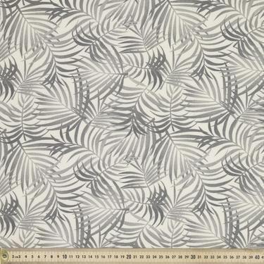 Leafy Printed Fabric Charcoal 120 cm