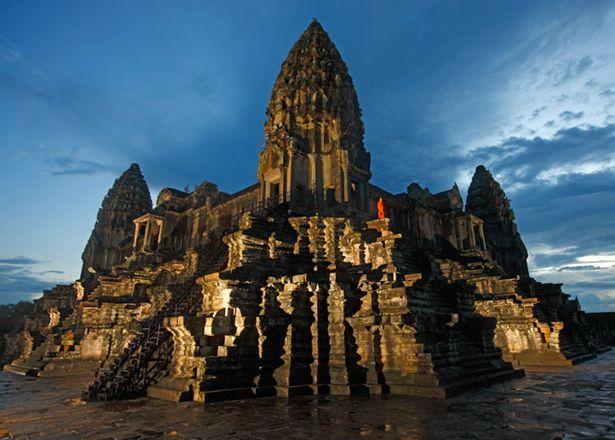 Ícone da civilização Khmer, Angkor Wat no Camboja.