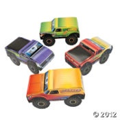 Monster Truck-Shaped Centerpieces.  Monster Truck Supplies From Oriental Trading