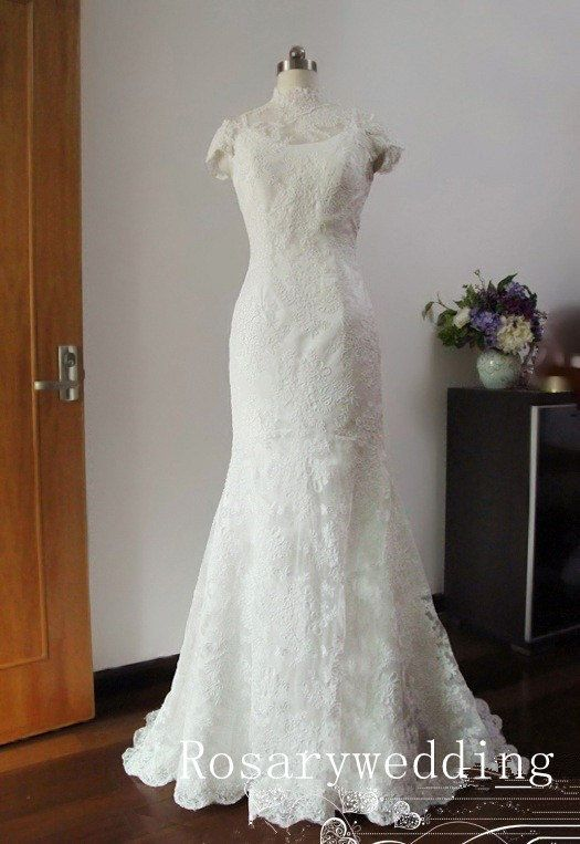 Open back high neckline slim mermaid lace by Rosaryweddingdress, $325.00
