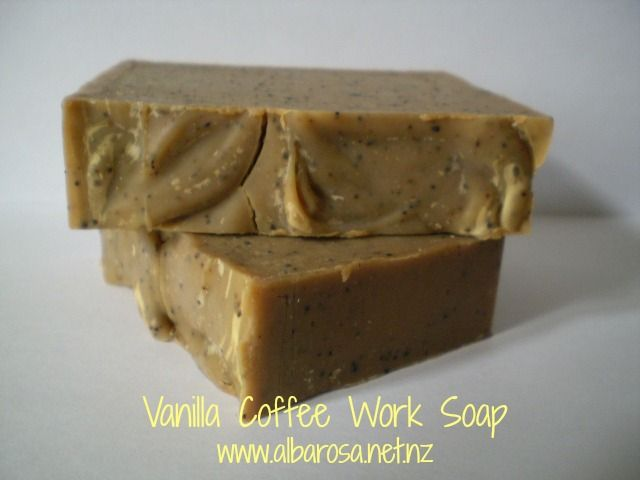 Alba Rosa VANILLA COFFEE WORK SOAP   http://albarosa.net.nz/products-page/handcrafted-soaps/vanilla-coffee-work-soap