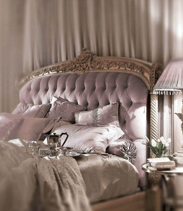 Romantic Style bedroom with beautiful Lilac Purple tufted headboard.
