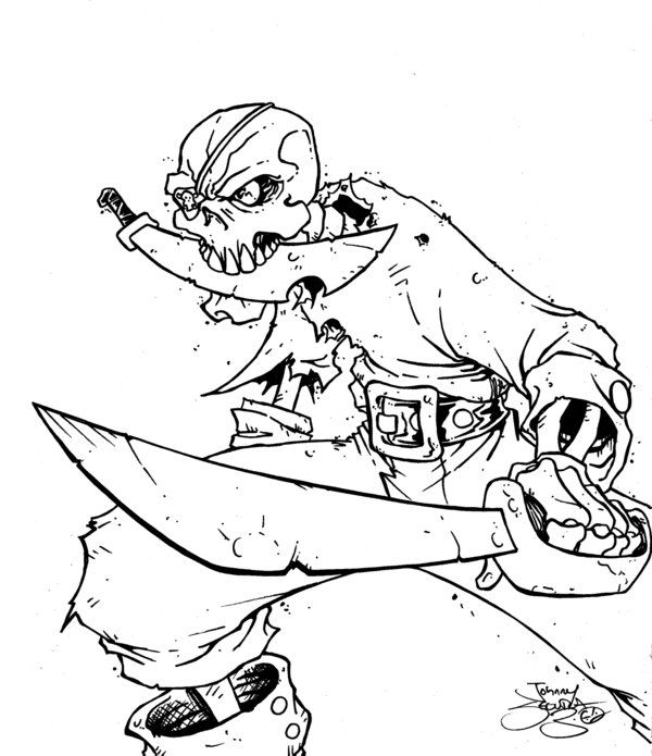 Skeleton Pirate Coloring Pages