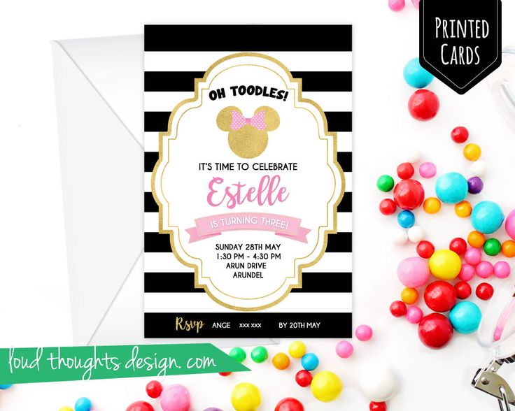 Minnie Birthday Invitations/ Minnie Gold Printed Birthday Invite/ Custom Invitation/ Personalised Birthday Party/ Party Printables by LoudThoughtsDesign on Etsy https://www.etsy.com/au/listing/532259867/minnie-birthday-invitations-minnie-gold