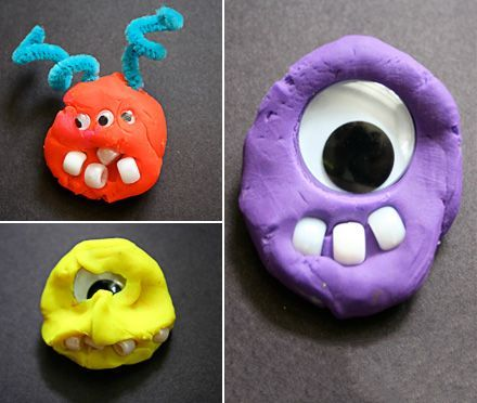 playdough monsters, googly eyes, pipe cleaners, & pony beads