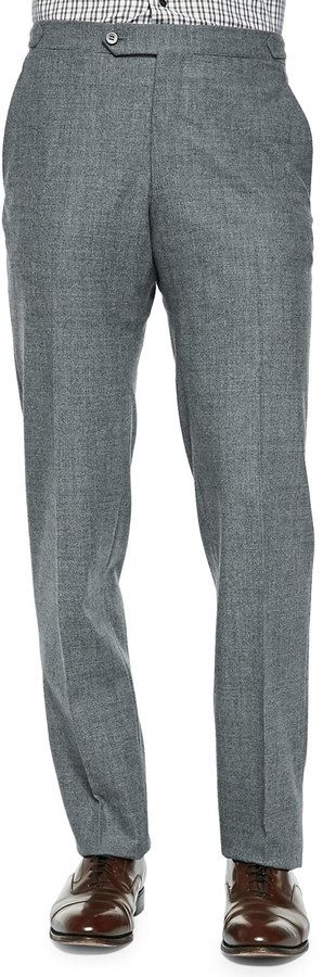 $795, Grey Wool Dress Pants: Isaia Wool Flannel Trousers Gray. Sold by Neiman Marcus. Click for more info: https://lookastic.com/men/shop_items/81138/redirect