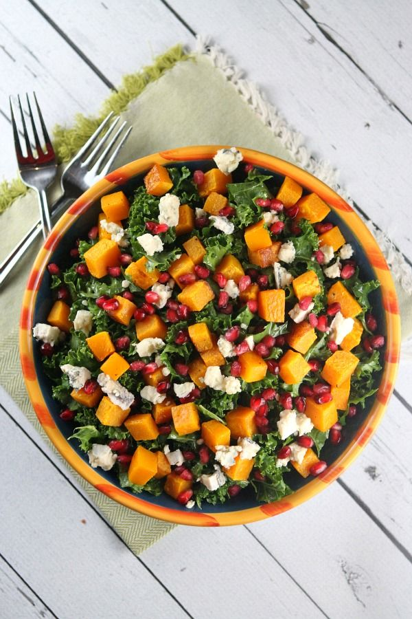 Kale Salad with Butternut Squash #recipe -