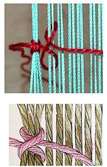 Alternative to hemstitching on handwoven pieces--the cavandoli knot aka the clove hitch--a basic macrame knot! (yahoo!!!!)