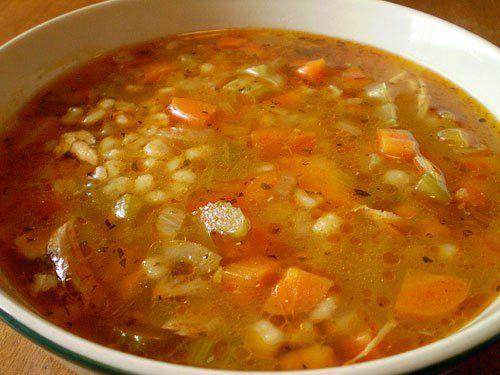soupe orge et poulet | la gourmande modeste