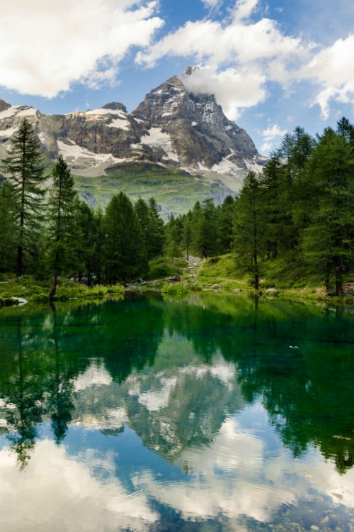 Mount Cervino and Blue Lake, Aosta Valley, Northwestern Italy (Alps) ~ Photography by Marco S