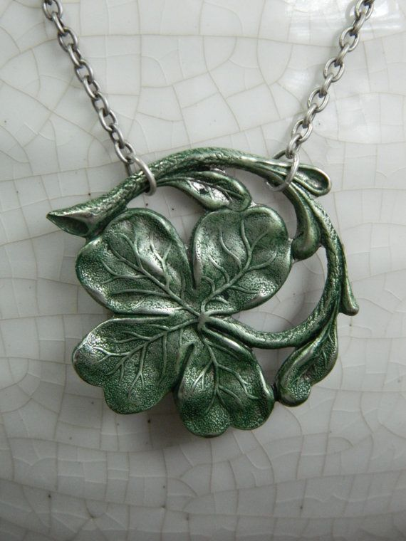 IRELAND --  aged silver with green patina -- Clover, Irish, Celtic Shamrock Necklace by Crow Haven Road on Etsy, $24.00