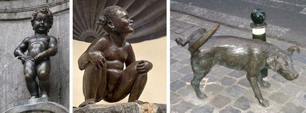 De drie plassende beeldjes van Brussel: Manneke Pis, Jeanneke Pis en het plassende hondje Zinneke Pis. Manneke Pis mag dan het bekendste zijn, de andere twee zijn tevens een bezoekje waard.