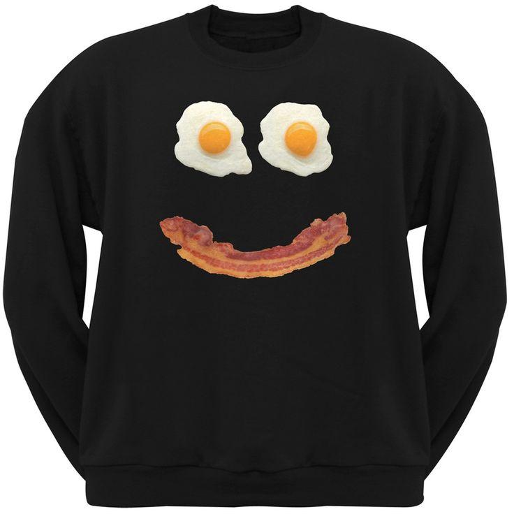 Mr. Happy Smiley Face Bacon And Eggs Black Adult Crew Neck Sweatshirt