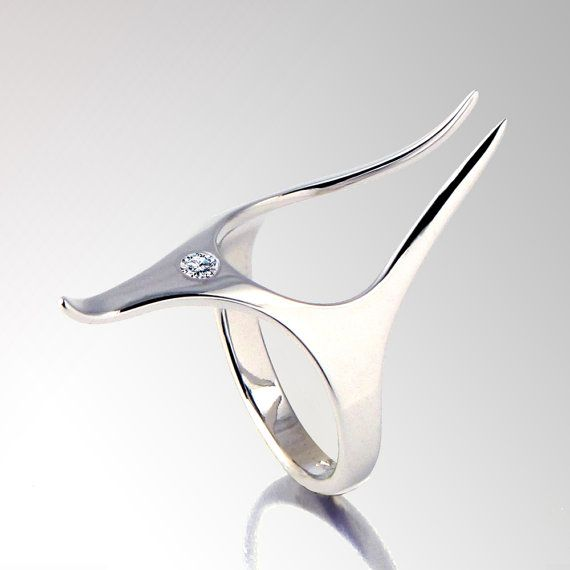 ANUBIS Unique Silver Ring Sterling Silver Diamond ring by arosha, $185.00