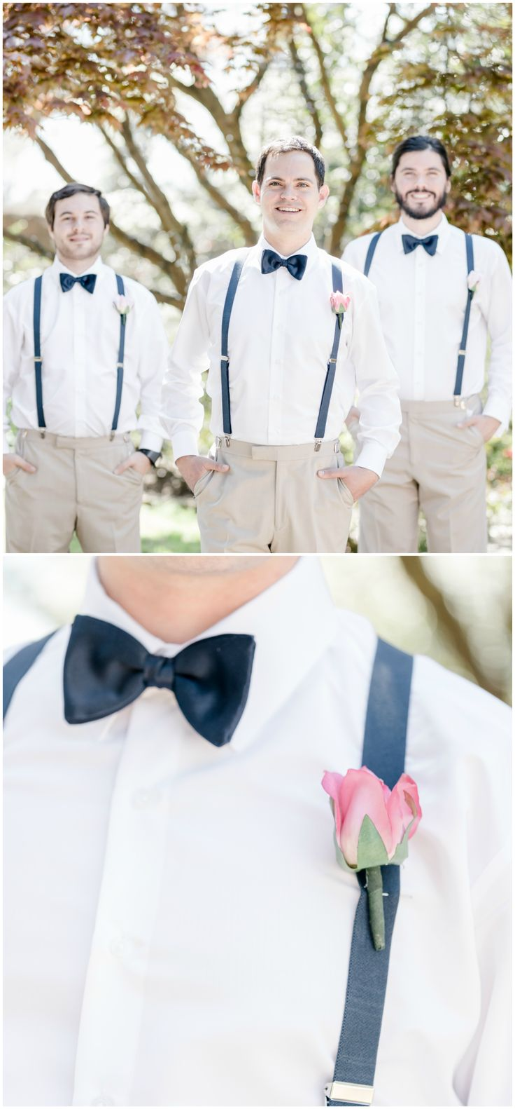 Groomsmen fashion, casual wedding attire, khaki pants, navy blue bowties, suspenders, pink rose boutonniere // Ariel Kaitlin Photography