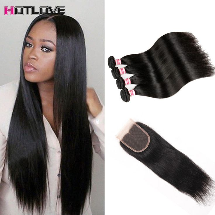 Peruvian Virgin Hair With Closure Grade 8a Human Hair 4 Bundles With Closure Peruvian Straight Virgin Hair With Lace Closures ** Click the VISIT button for detailed description