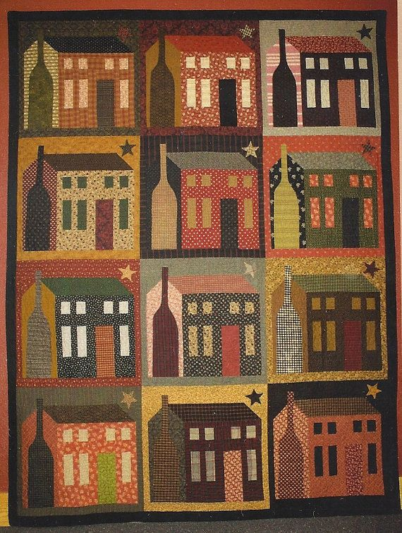 Primitive Folk Art Quilt Pattern  THE BIG HOUSE by PrimFolkArtShop