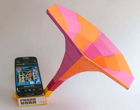 Phono Horn is a free downloadable paper sound dock kit designed for paper model and DIY enthusiasts