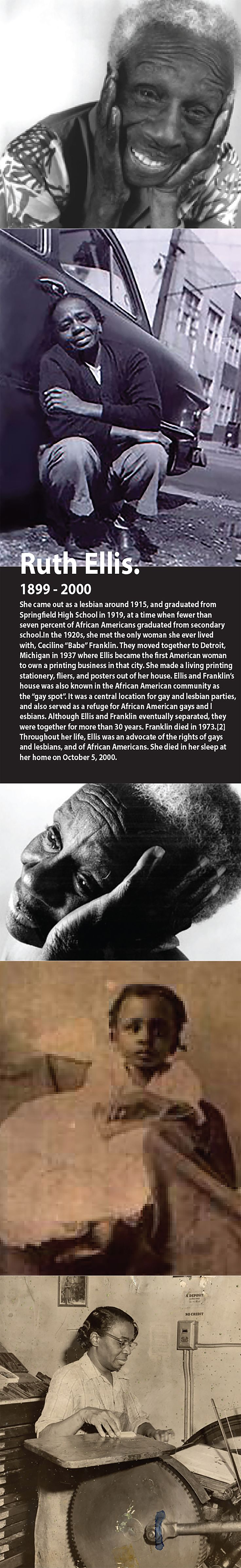 Ruth Ellis human rights activist. The mission of the Ruth Ellis Center is to provide short-term and long-term residential safe space and support services for runaway, homeless and at-risk gay, lesbian, bi-attractional, transgender and questioning youth.