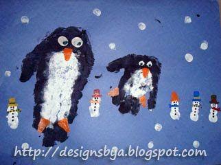 January Handprint Penguin and Fingerprint Snowman - Fun Handprint Art