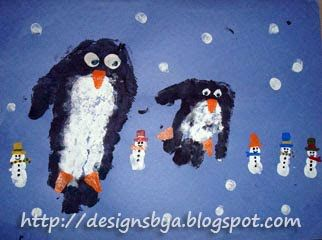 January Handprint Penguin and Fingerprint Snowman - Fun Handprint Art