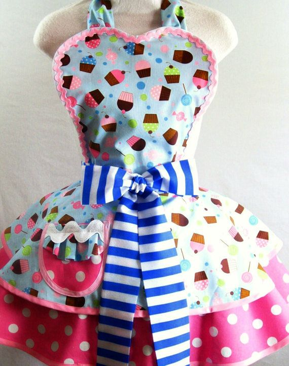 pink lollipop candy cupcake apron with polka dots and by sjcnace4 - Cooking Aprons