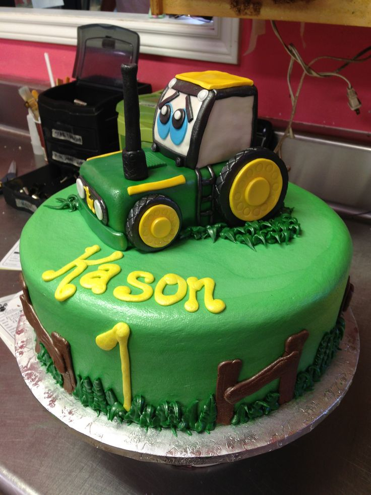 Iced in buttercream, rice crispy/fondant tractor