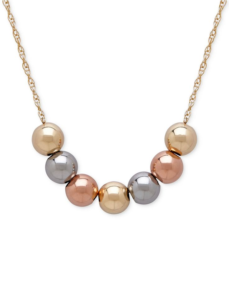 Tri-Tone Beaded Statement Necklace in 10k Yellow, White and Rose Gold - All Fine Jewelry - Jewelry & Watches - Macy's