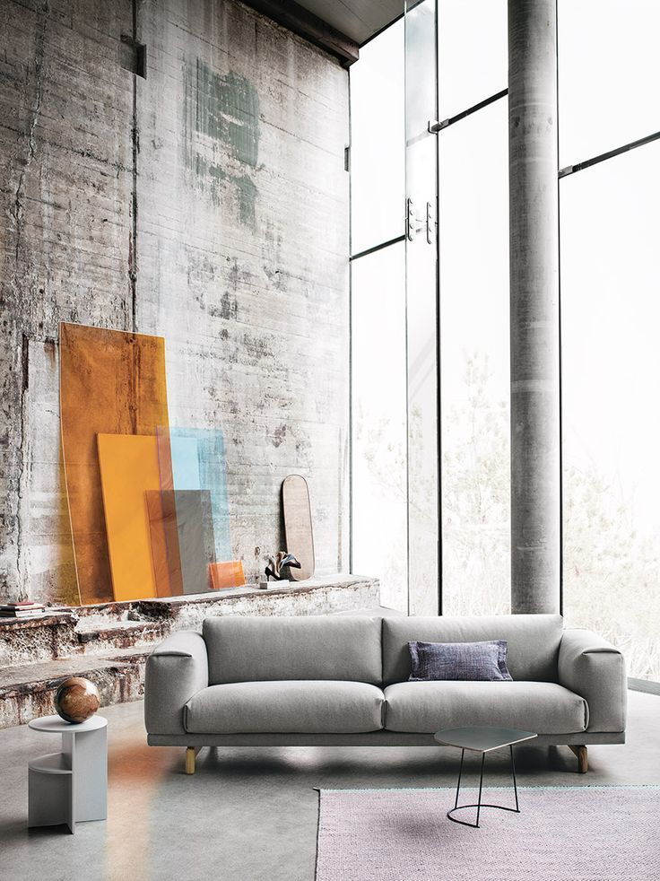 Stunning Concrete Loft With Large Windows Halves Side Table By Muuto Scandinavian Furniture