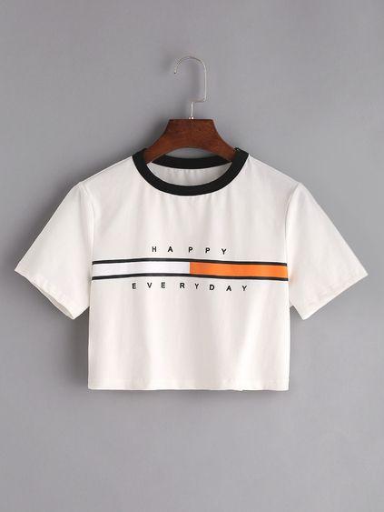 Camiseta corta con estampado - blanco