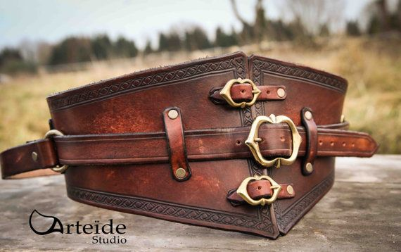 leather medieval fantasy belt by ArteideStudio on Etsy