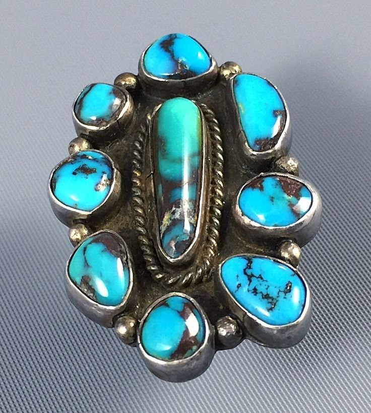 "Huge 1 75"" Vintage Mark Chee Navajo Sterling Smoky Bisbee Turquoise Ring Sz 8 