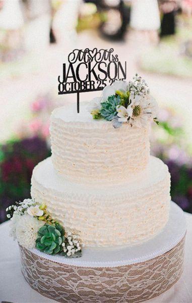 Custom monogram affordable wedding cake toppers ==