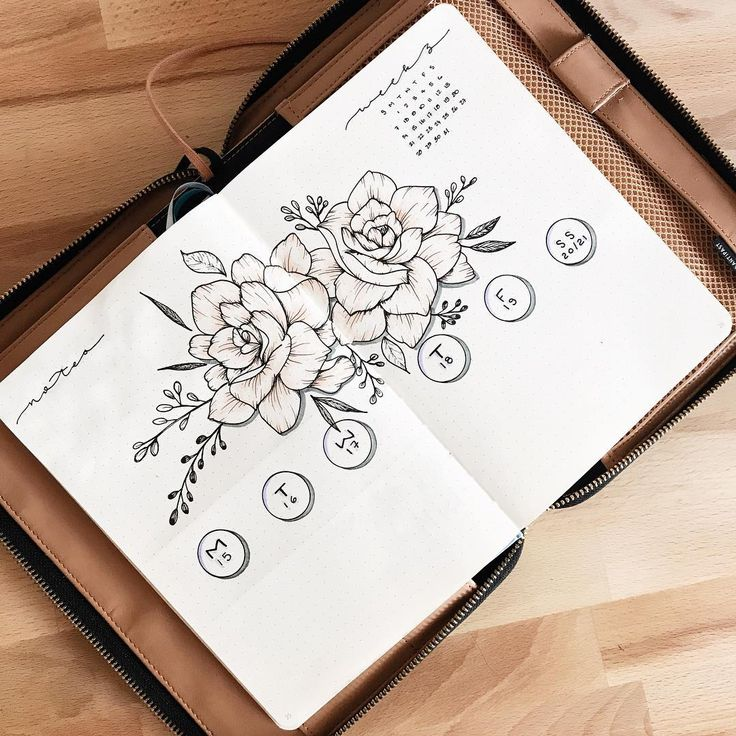 Bullet journal weekly layout, flower drawings, open dailies. | @allorasbujo