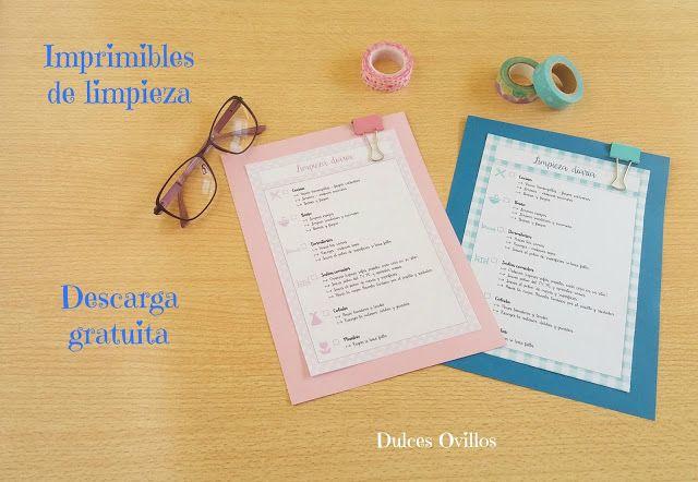 Dulces Ovillos: Imprimibles limpieza diaria