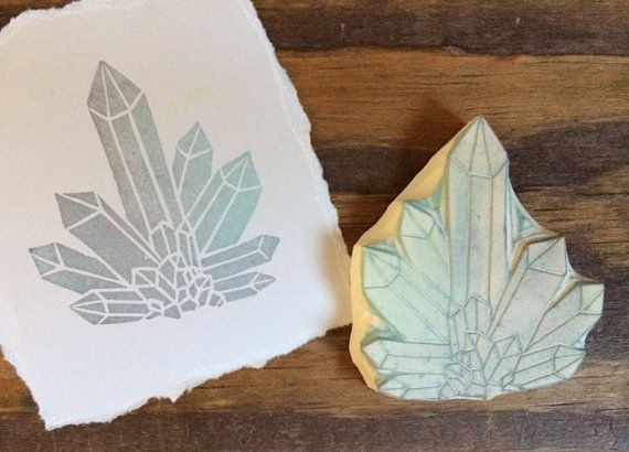 Crystal Formation Hand Carved Rubber Stamp by EnchantingStamps
